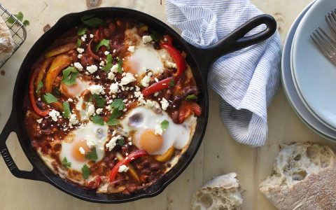 Cafe Style Baked Eggs and Beans